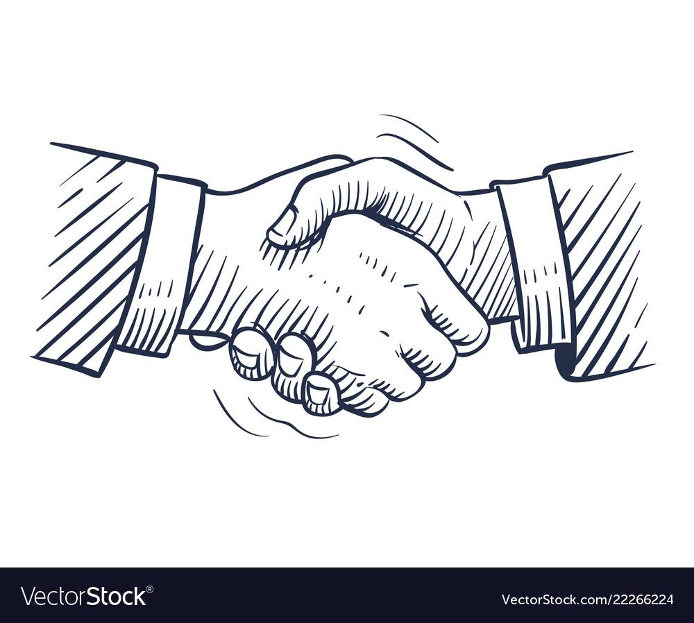 Sketch handshake doodle handshaking with human