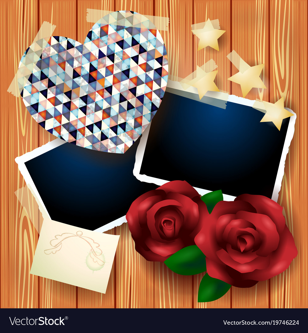 Vintage background with heart and roses
