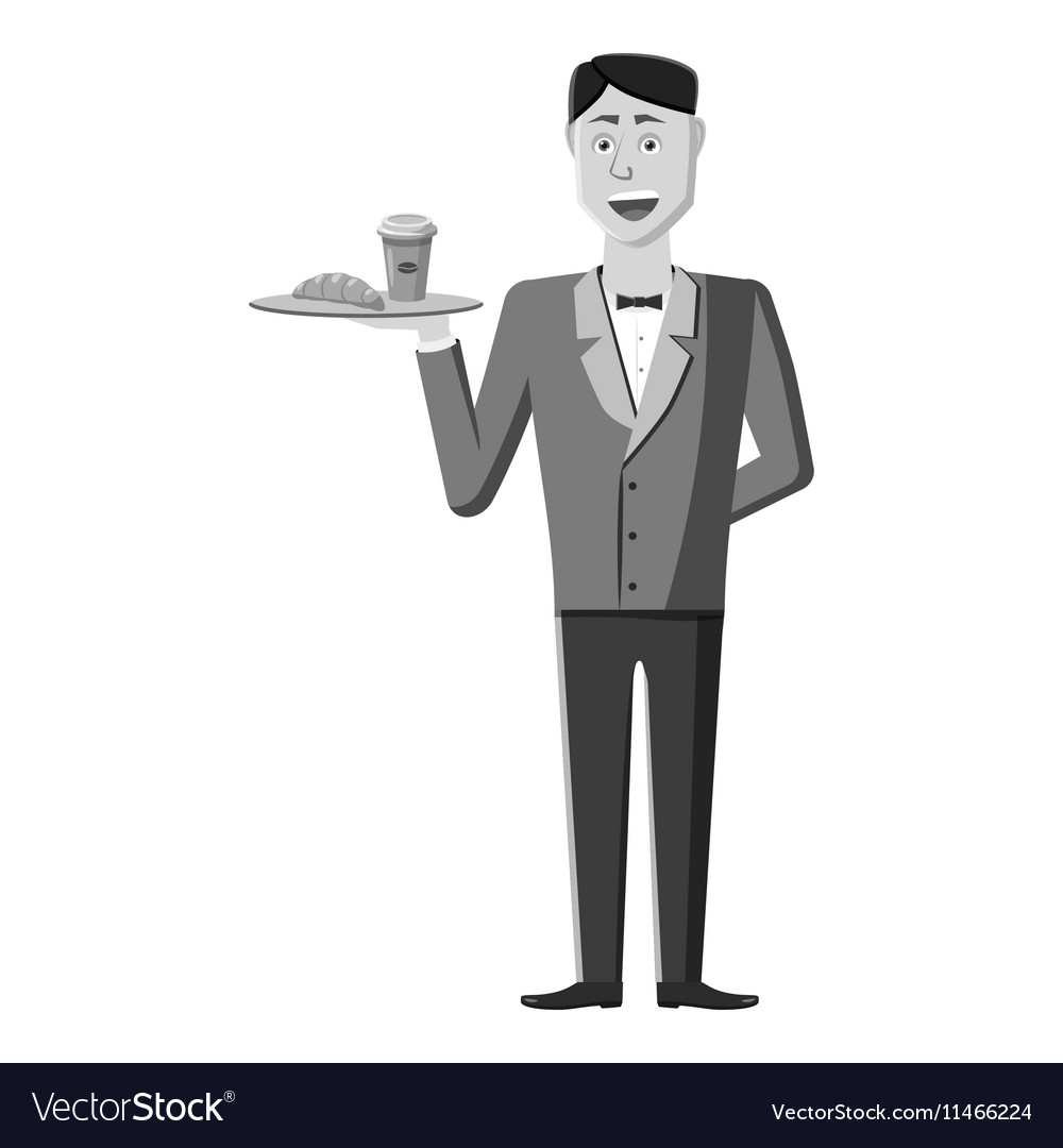Waiter icon gray monochrome style vector image