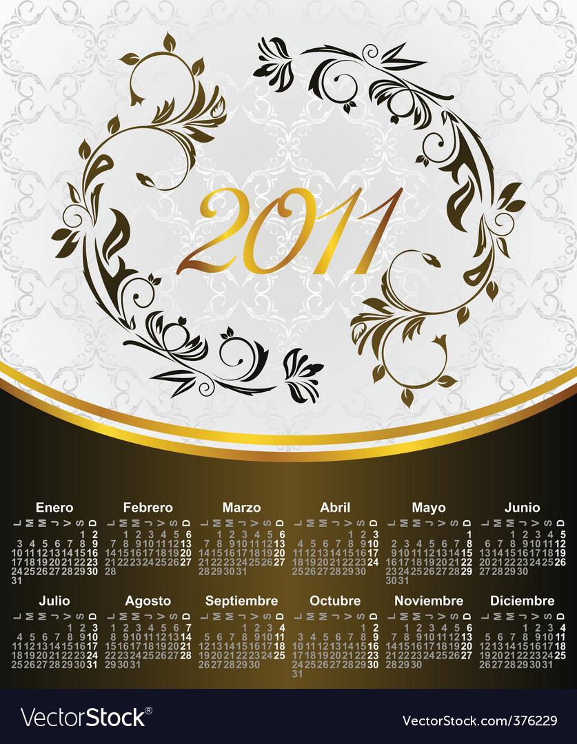 2011 in Spanish vector image