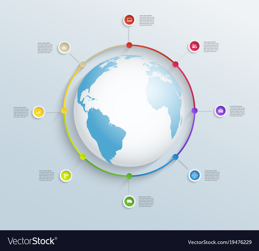 Abstract circular timeline with world map