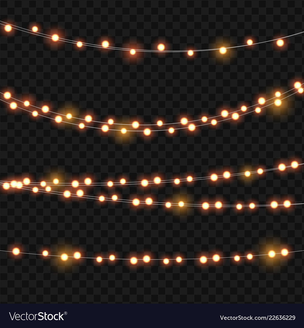 Abstract ligth bulb garland on transparent