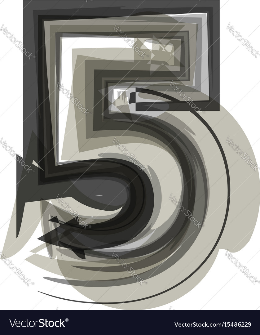 Abstract number 5 vector image