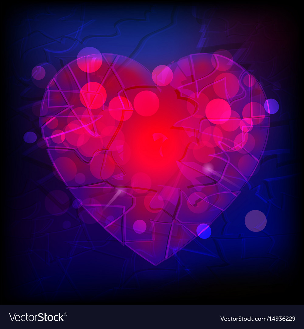 Abstract purple and red heart vector image