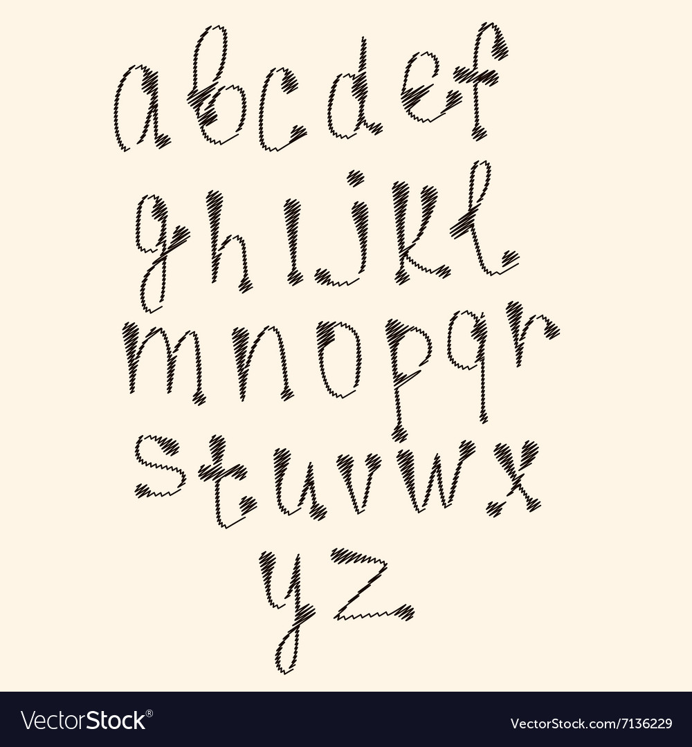 Art sketched stylized alphabet in black