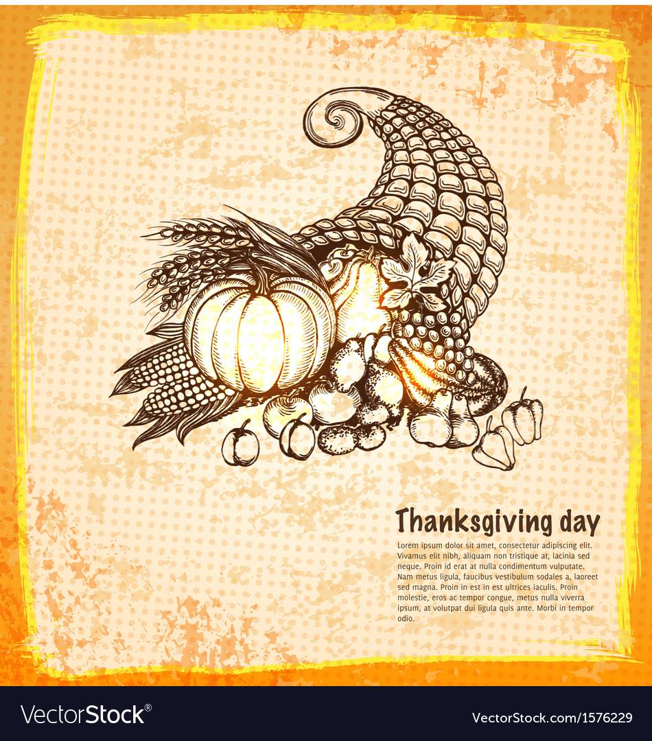 Autumn cornucopia full of harvest fruits and vector image