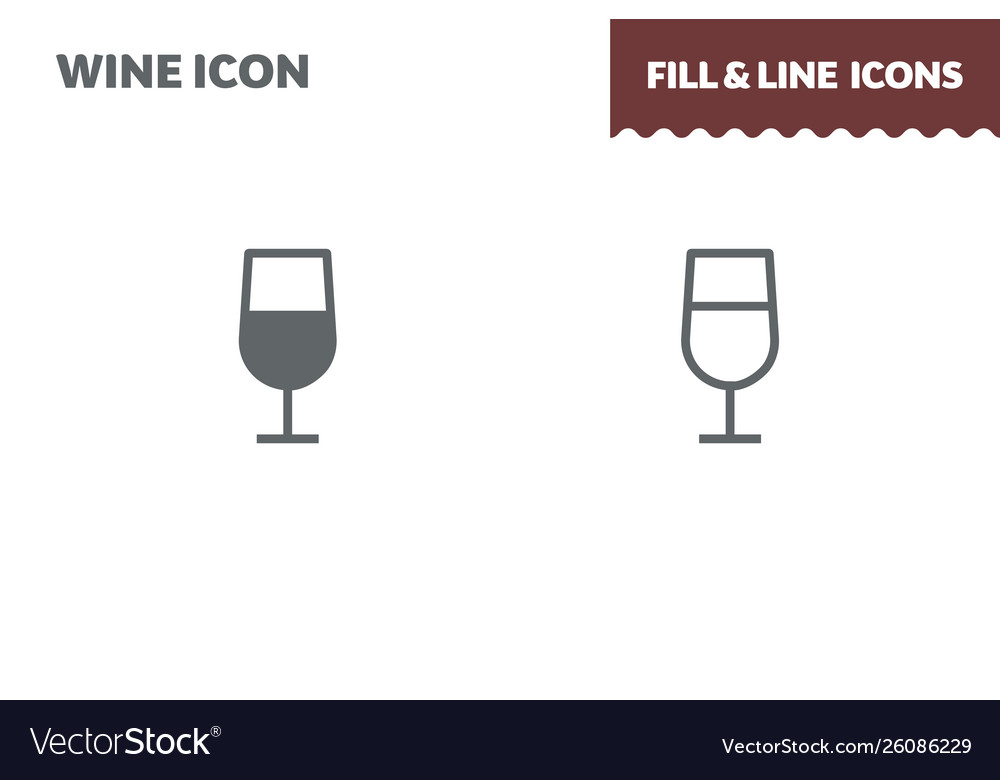 Coctail icon fill and line flat design