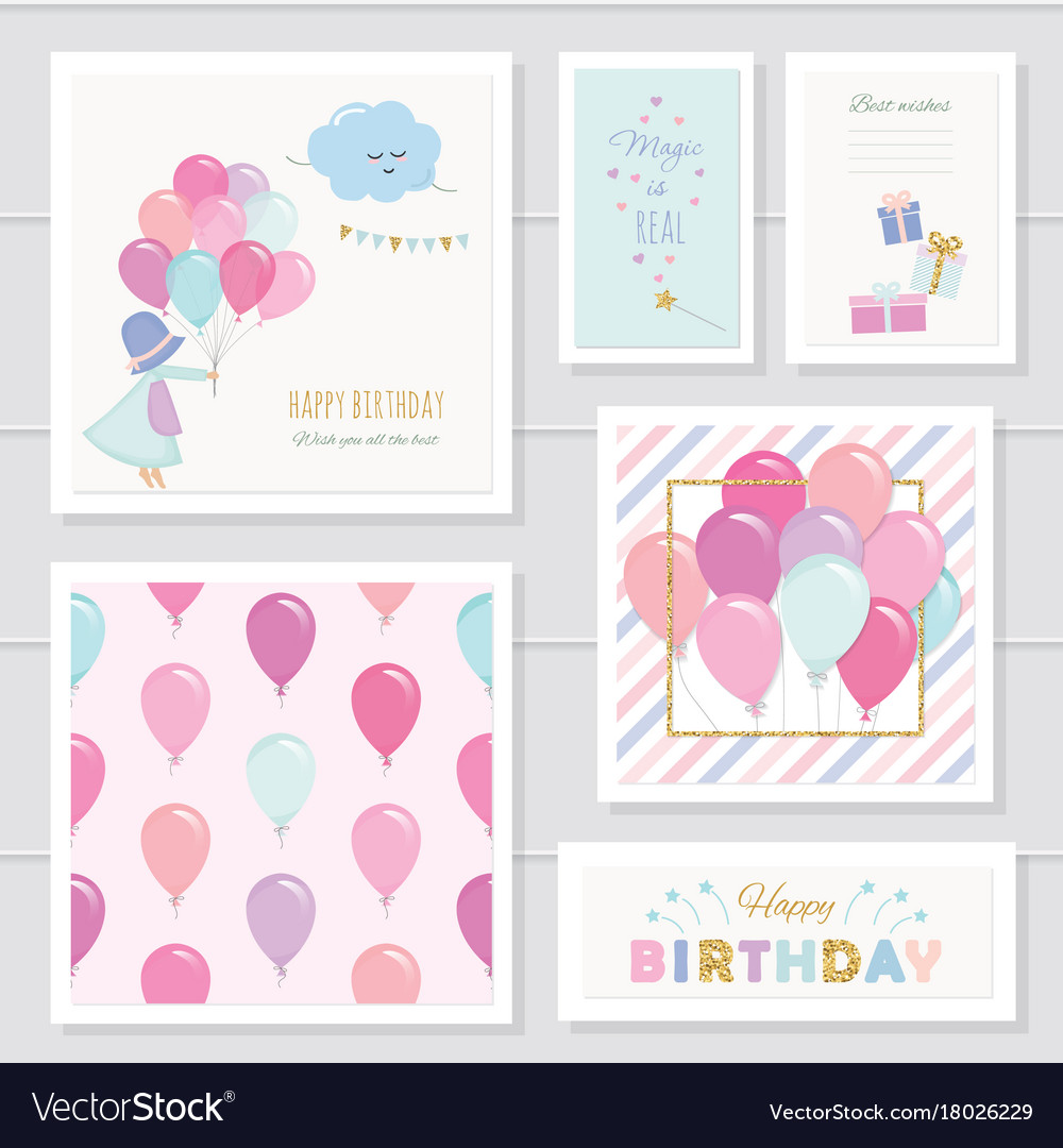 Cute birthday cards for girls with glitter vector image m4hsunfo