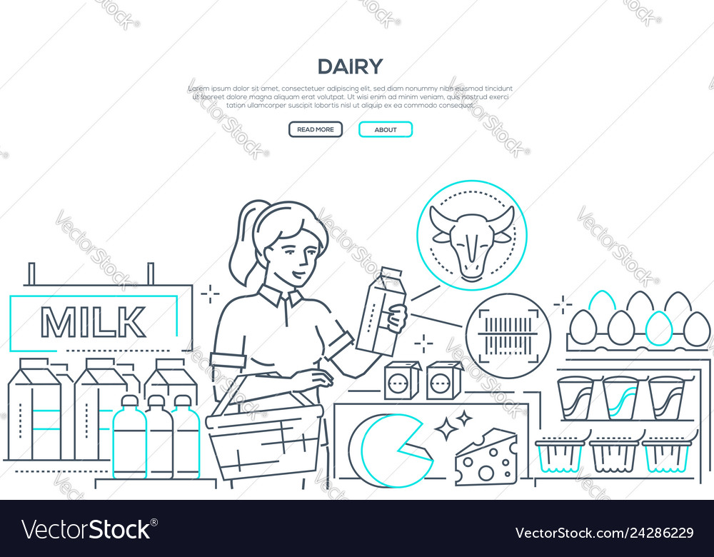Dairy products - line design style web banner