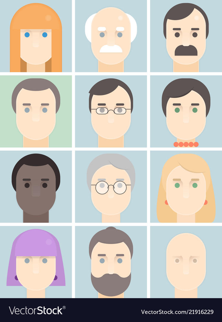 Men and women flat avatars set with faces people