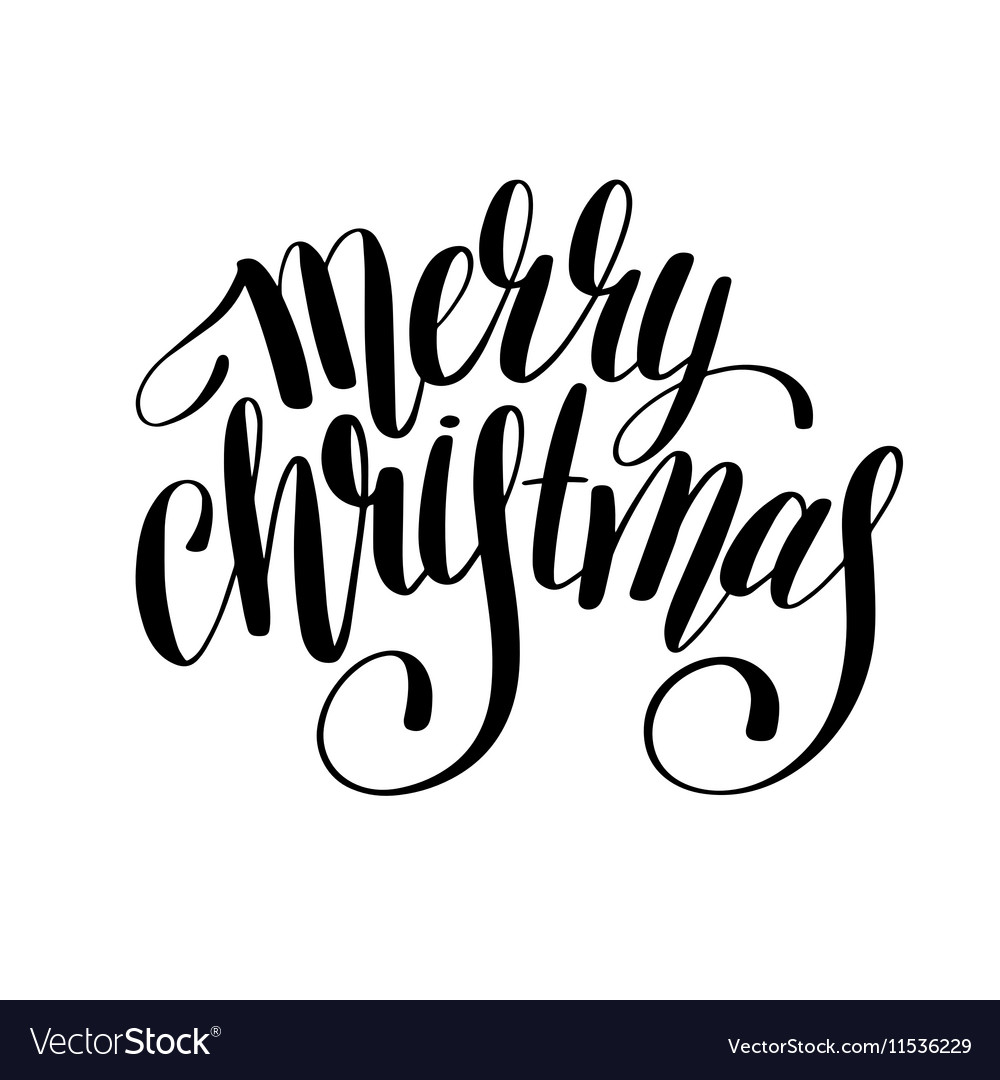 Merry christmas black and white handwritten Vector Image