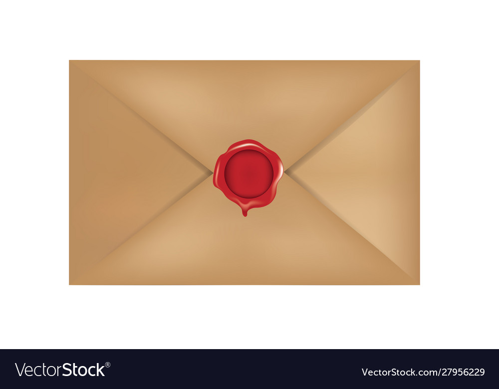Old mail with red wax stamp