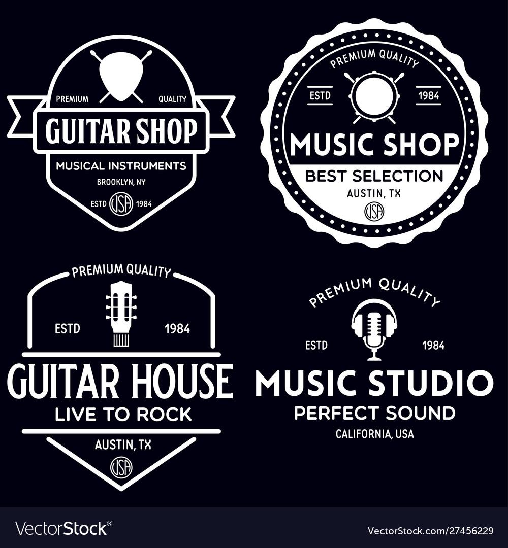 Set vintage logo badge emblem for music shop