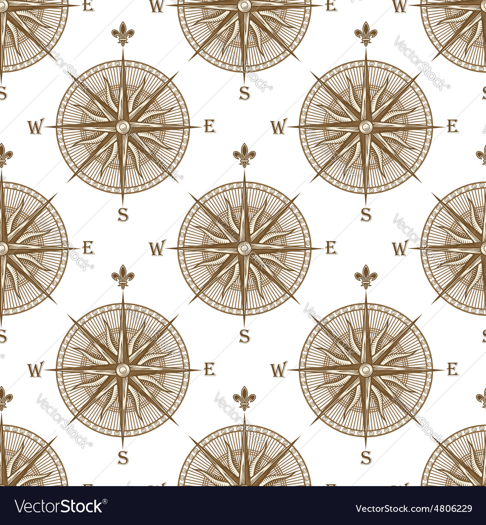 Vintage compass sign seamless pattern