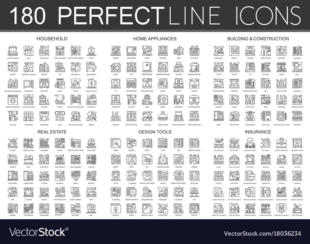 180 outline mini concept infographic symbol icons