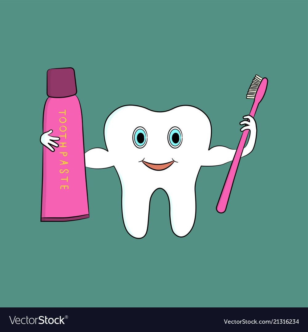 A cartoon tooth holds a toothbrush and toothpaste