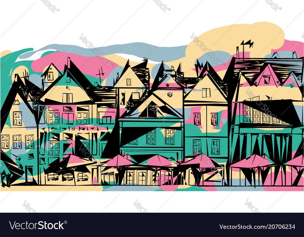 Abstract street houses dutch umbrellas