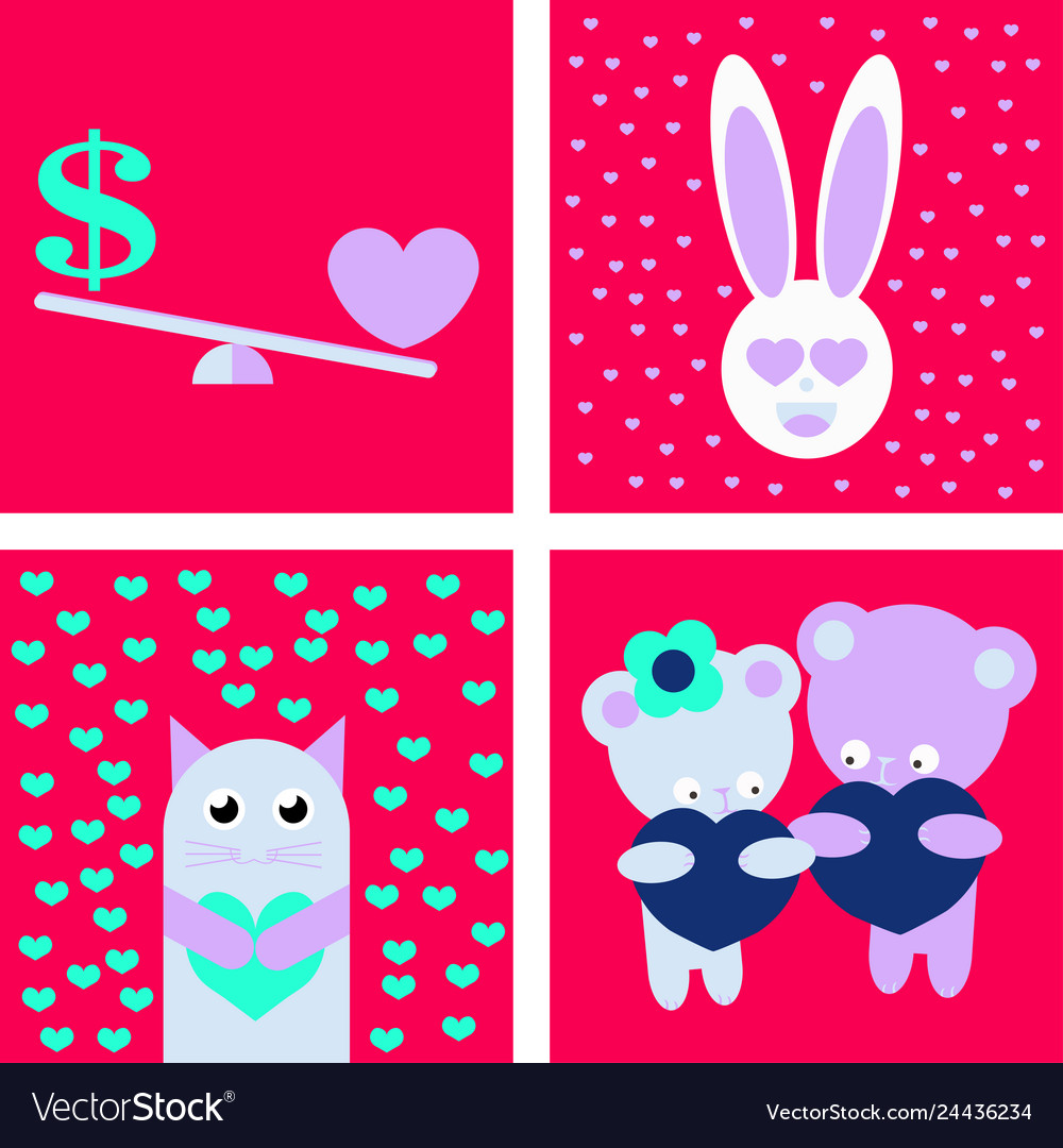 Big valentines day set with cute funny animals