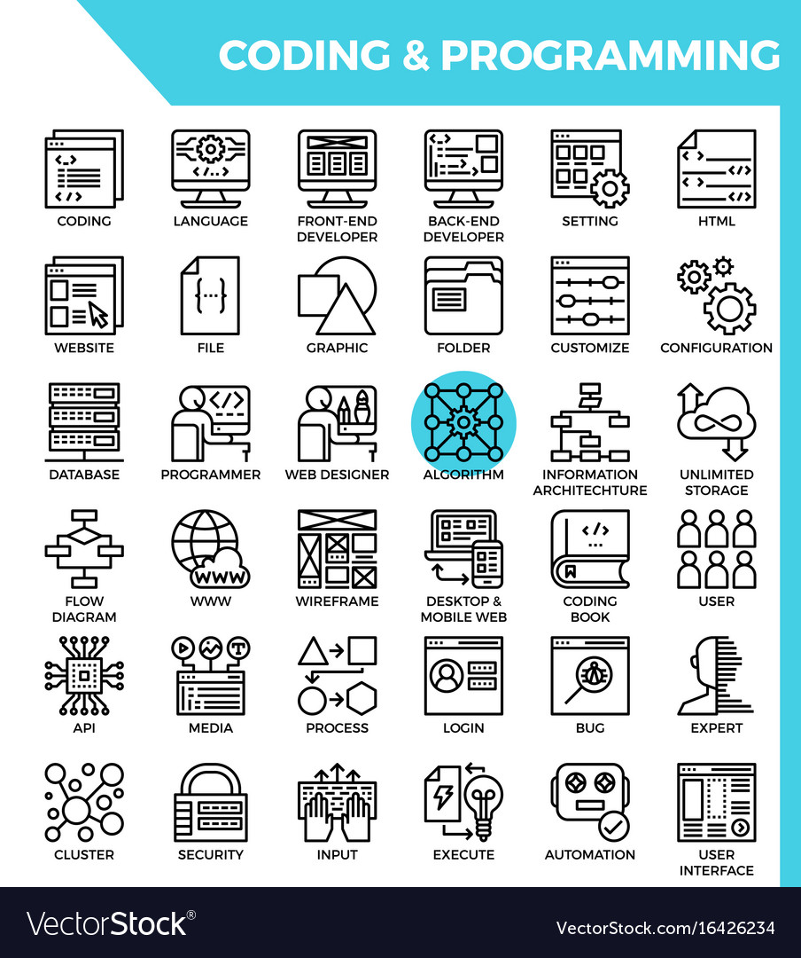 Coding programming concept detailed line icons