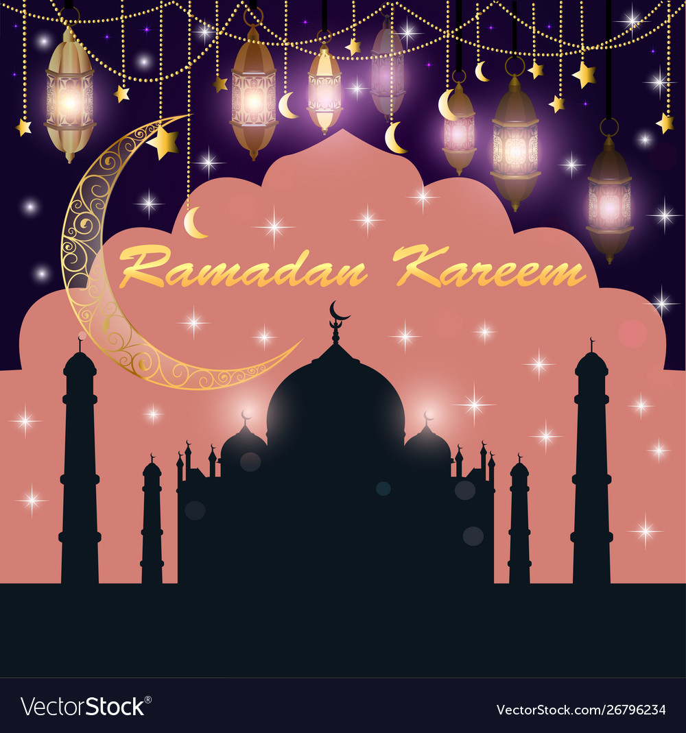 Festive greeting card for ramadan with temple