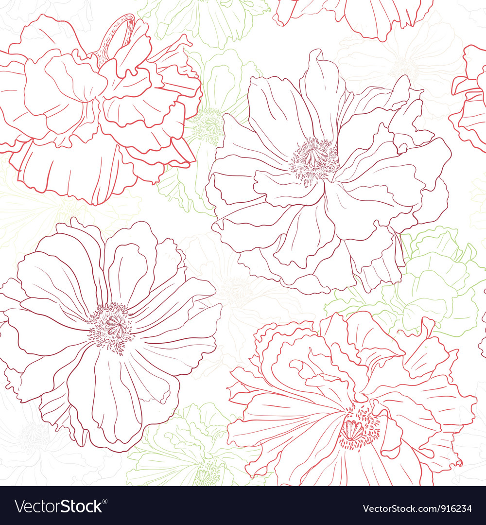 Floral wallpaper with poppy flowers