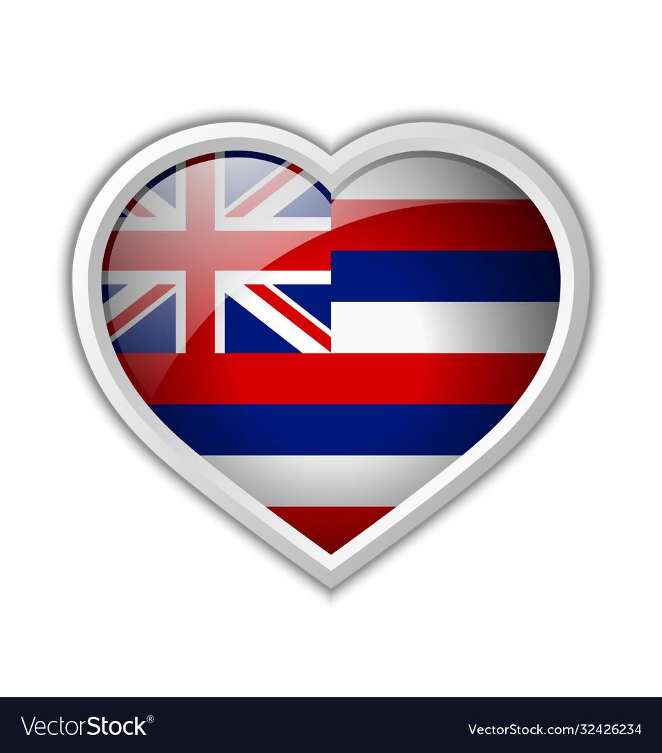 Hawaiian flag heart shaped badge isolated on