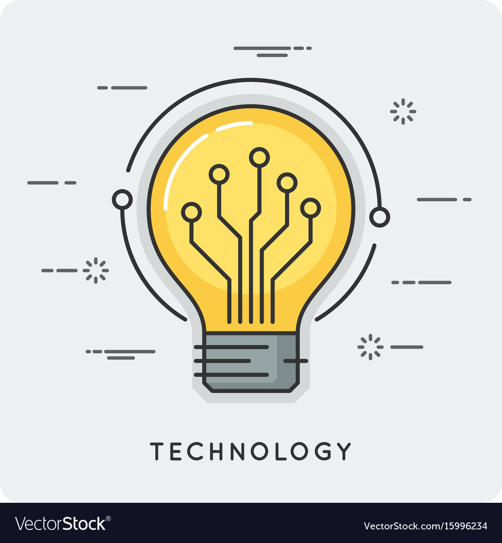 Intelligence and technology thin line concept vector image