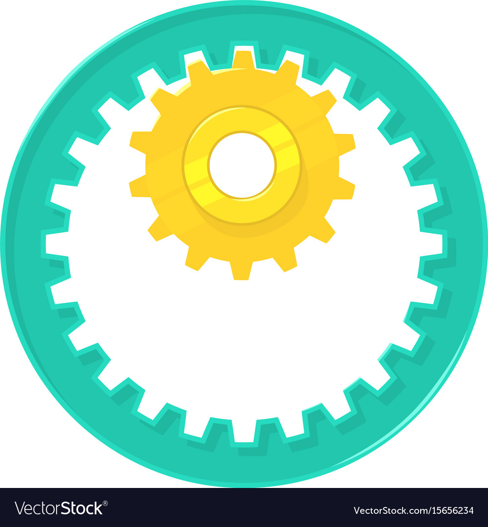 Large and small metal gears icon cartoon style vector image