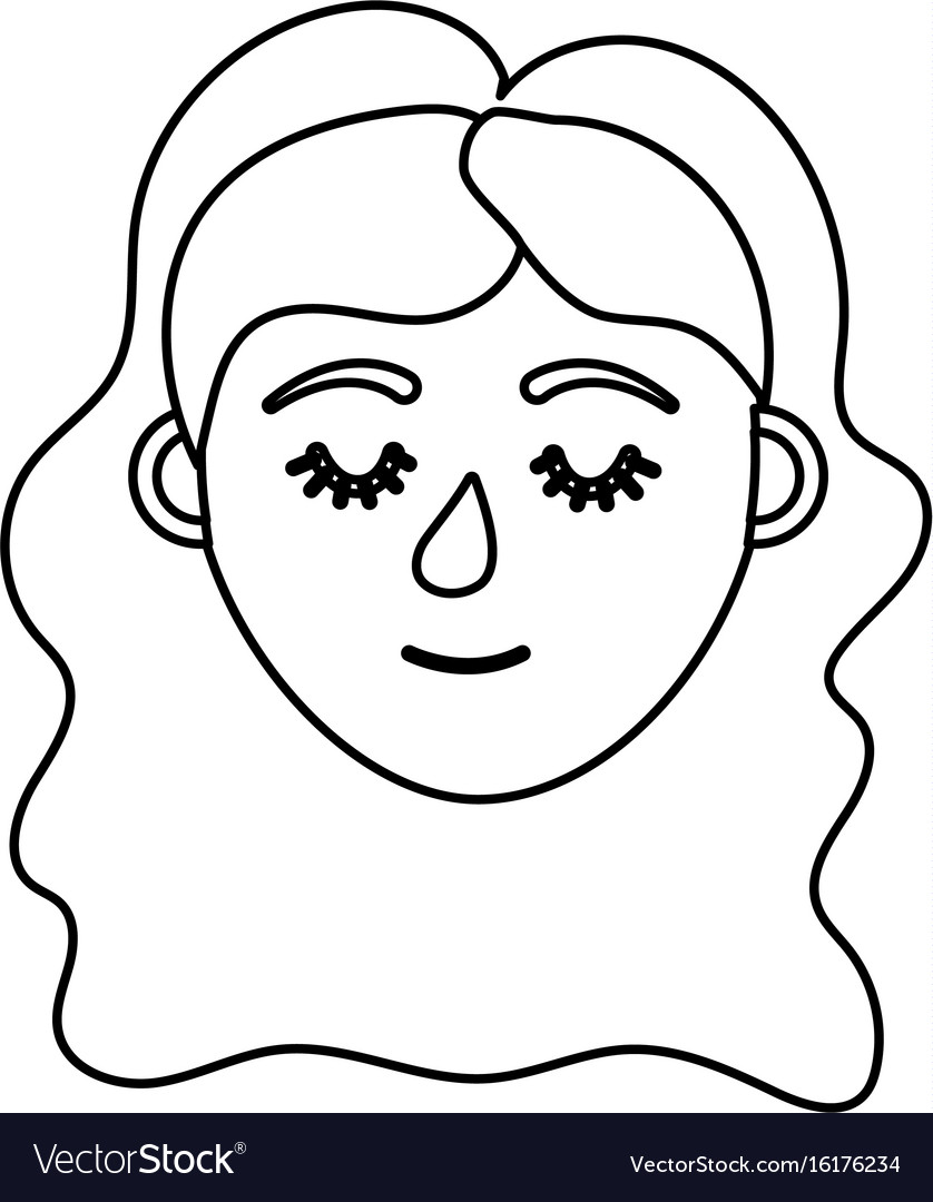 Line woman head with closed eyes and hairstyle vector image