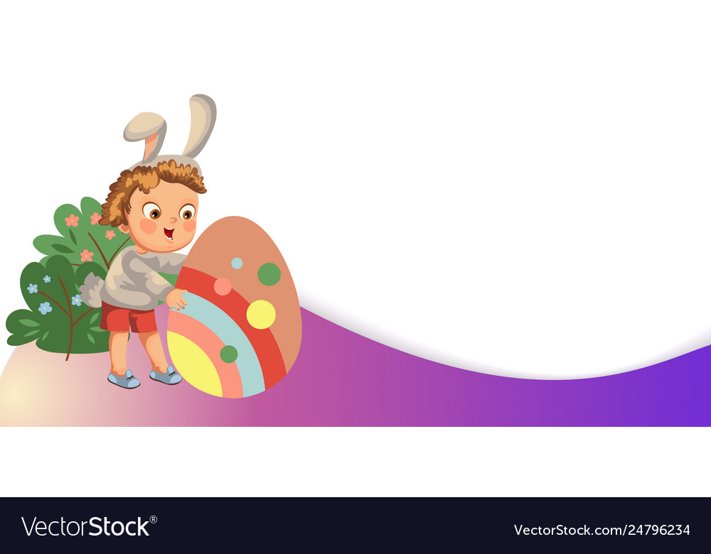 Little girl or boy hunting big decorative vector