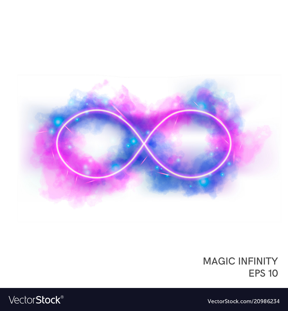 Magic fire infinity symbol with neon counter