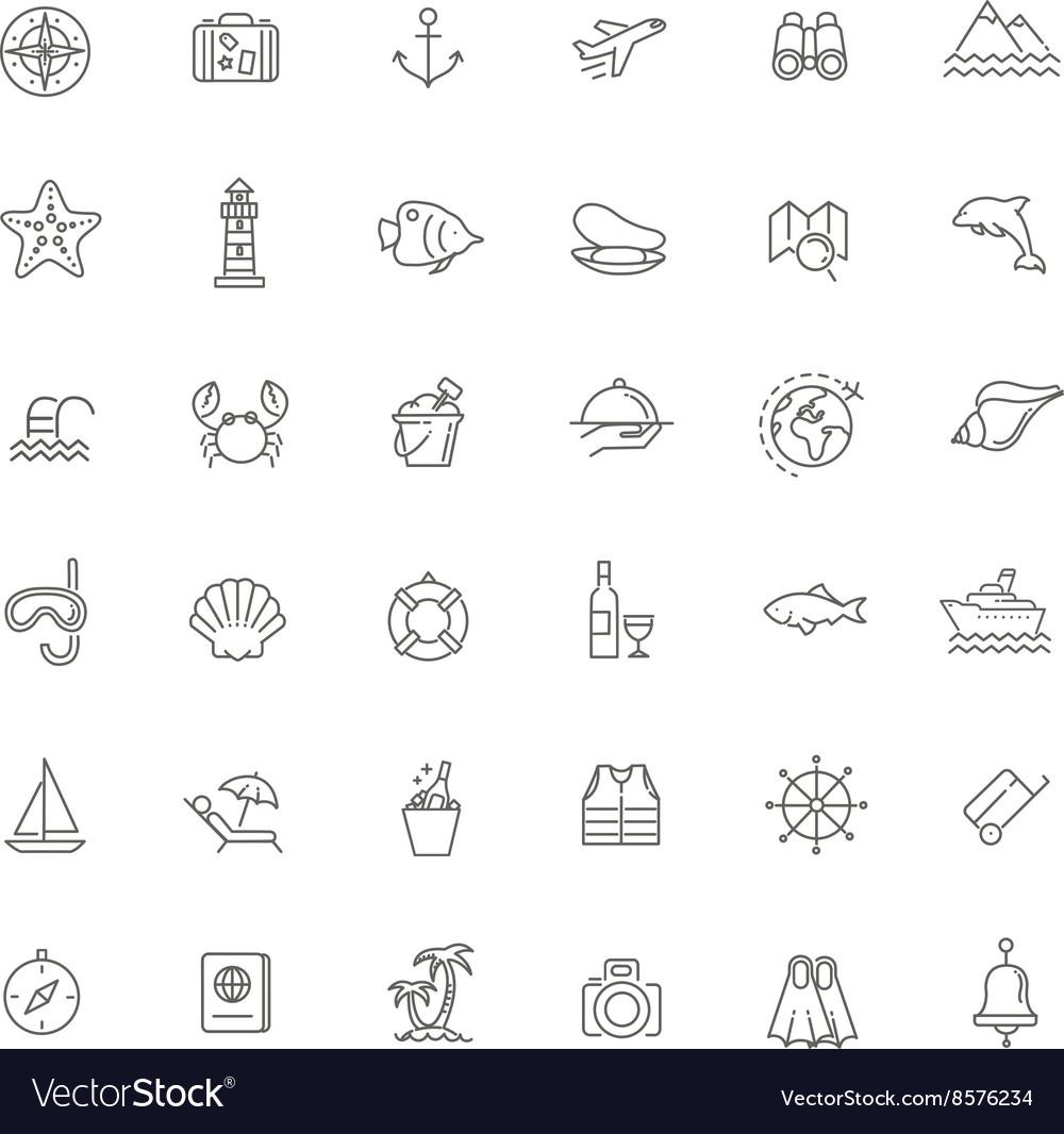 Outline web icon set - journey vacation cruise