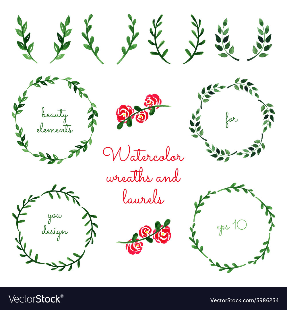 Set watercolor wreaths and laurels