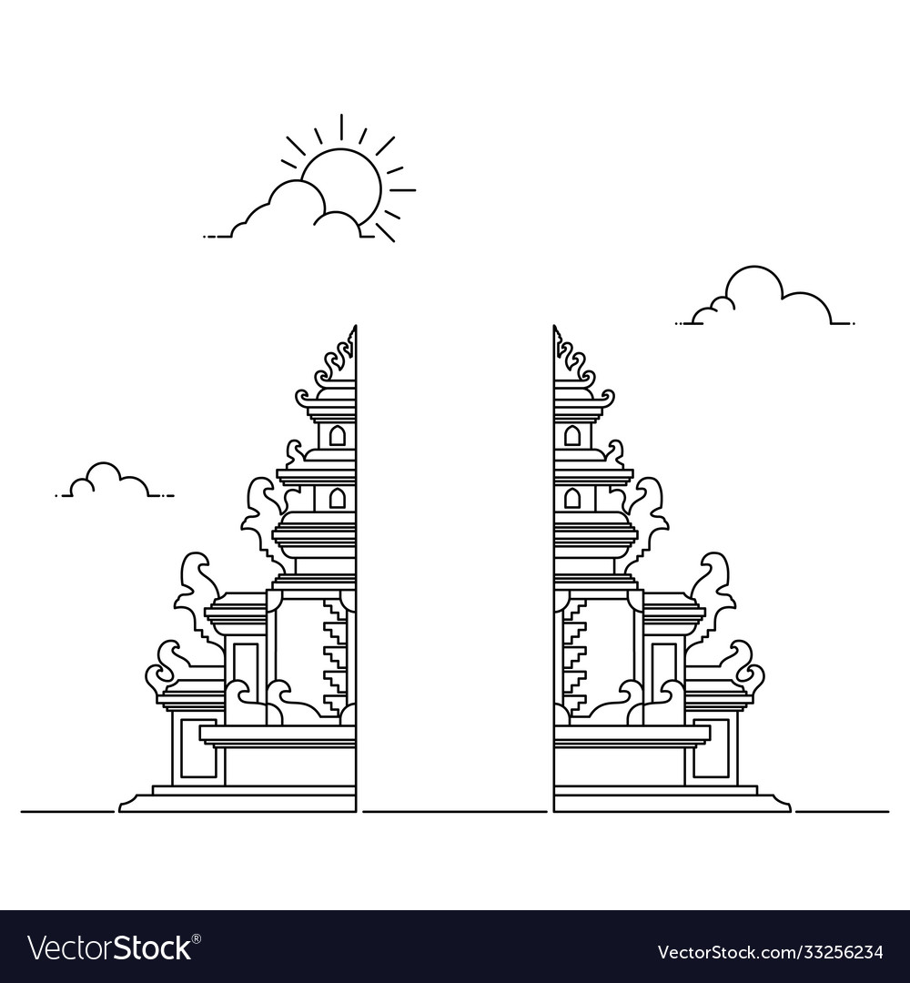 Simple line hindu temple gate background
