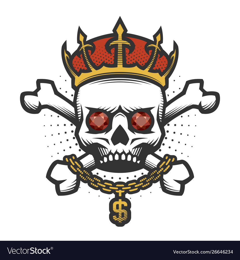 Skull with a crown and a gold chain