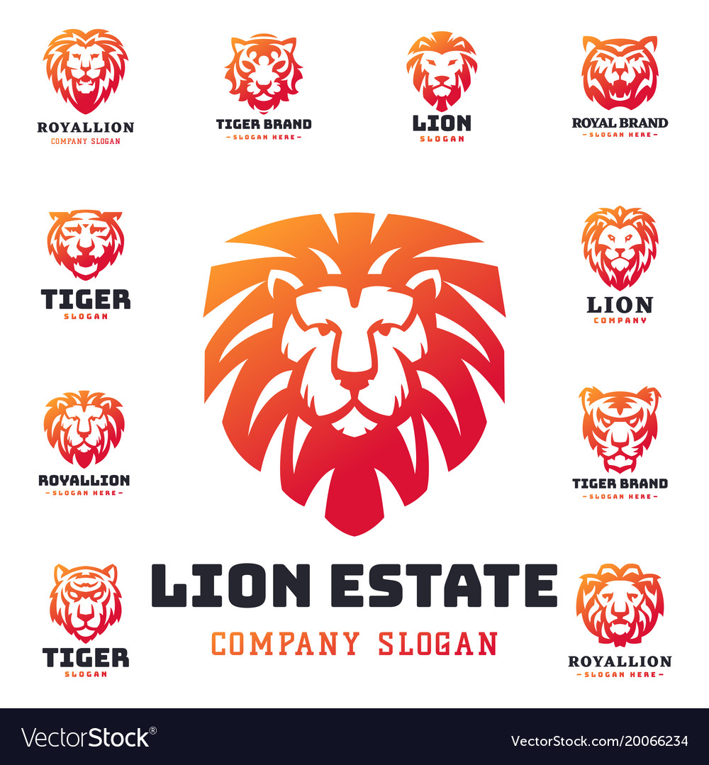 Tiger and lions face logo badge strength predator