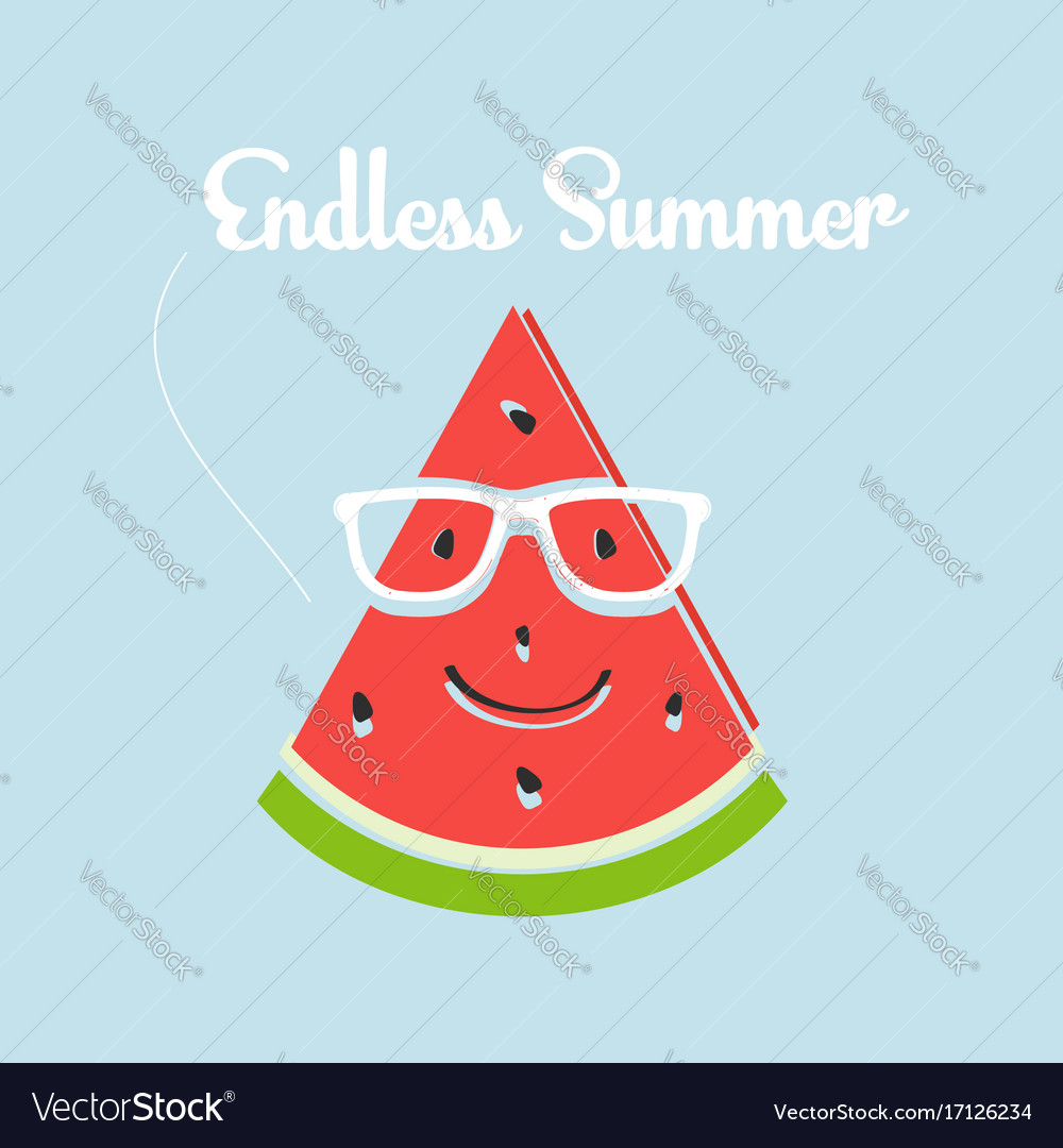 Watermelon slice smiling with glasses and texting