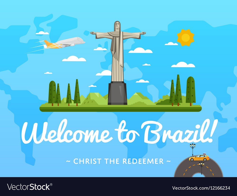 Welcome to Brazil poster with famous attraction vector image