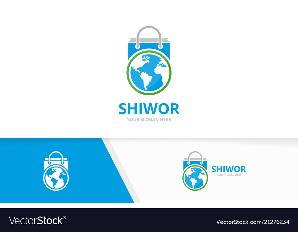World and shop logo combination earth and