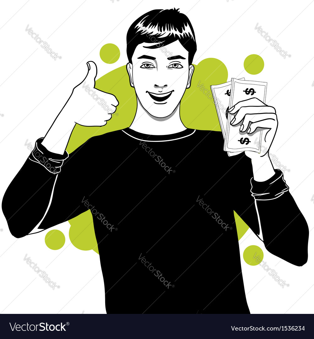 Young man with money in hand vector image