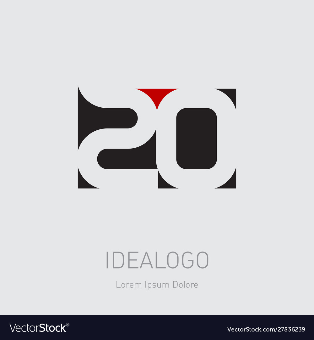 20 - design element or icon with numbers 2 and 0