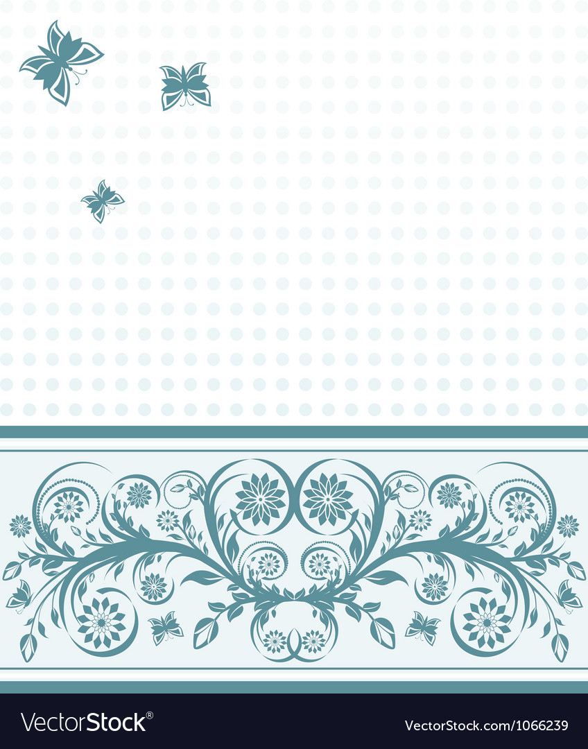 Background with flower ornament and butterflies
