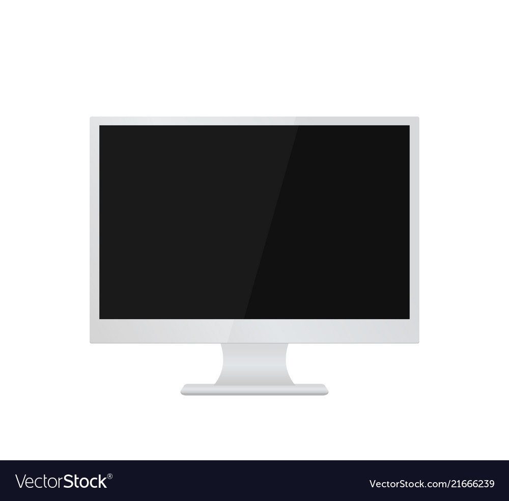 Computer monitor mockup isolated on white