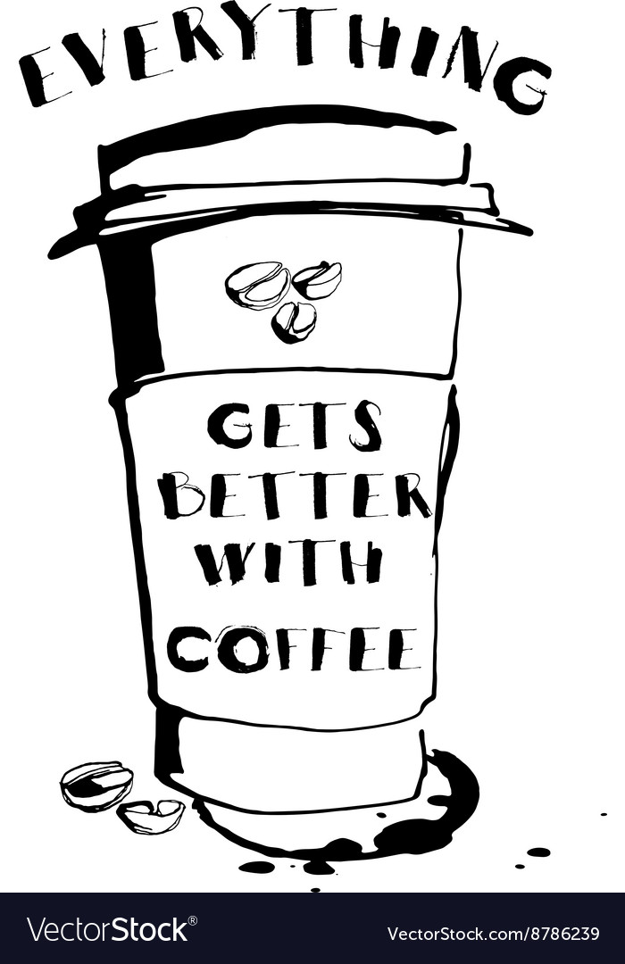 Grungy hand drawn ink paper cup to go take away vector image