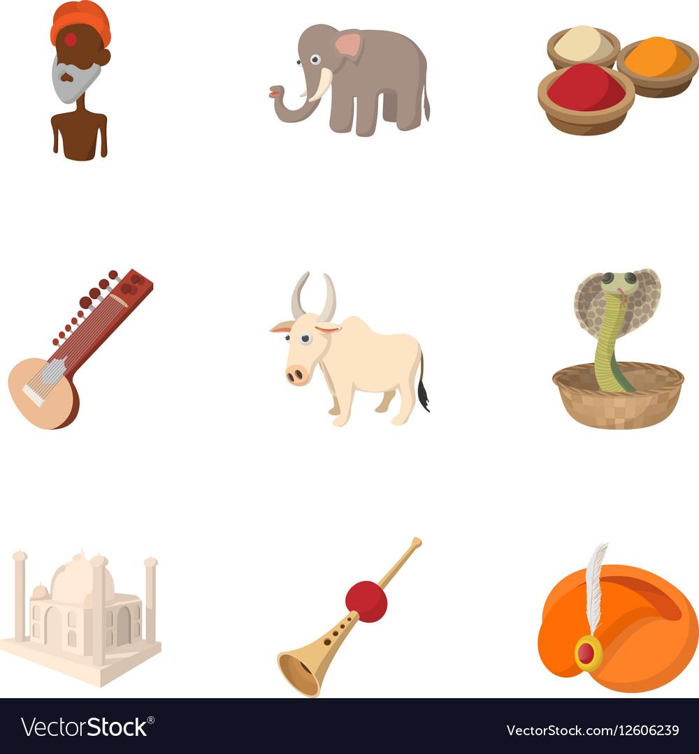 India icons set cartoon style