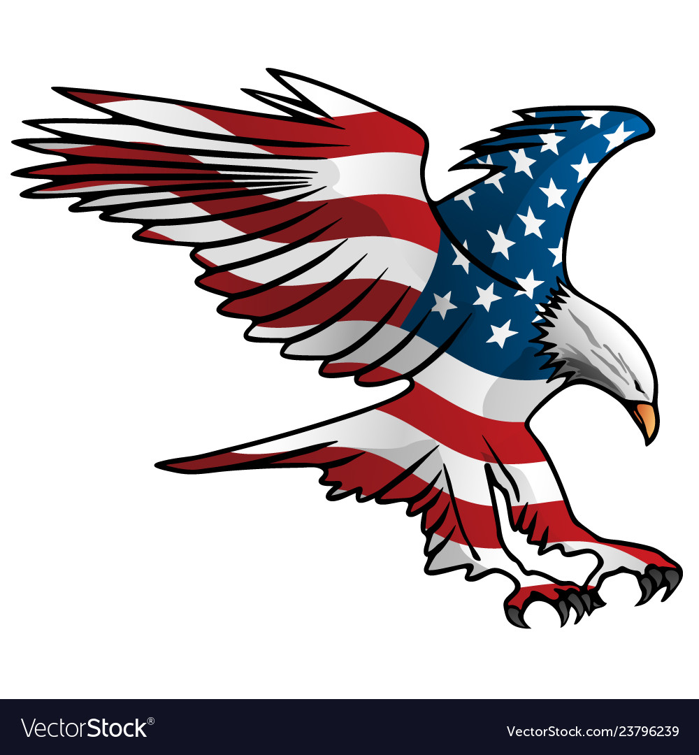 Patriotic Flying American Flag Eagle Royalty Free Vector