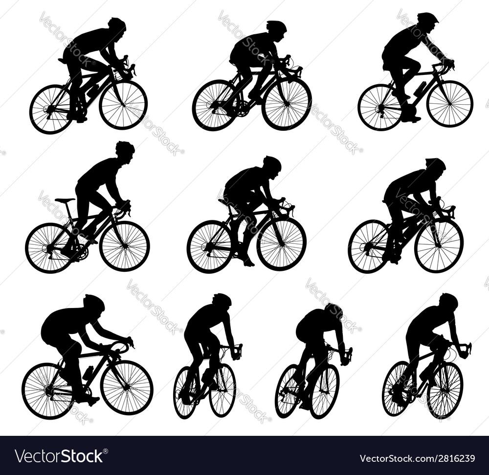 Racing bicyclists vector image