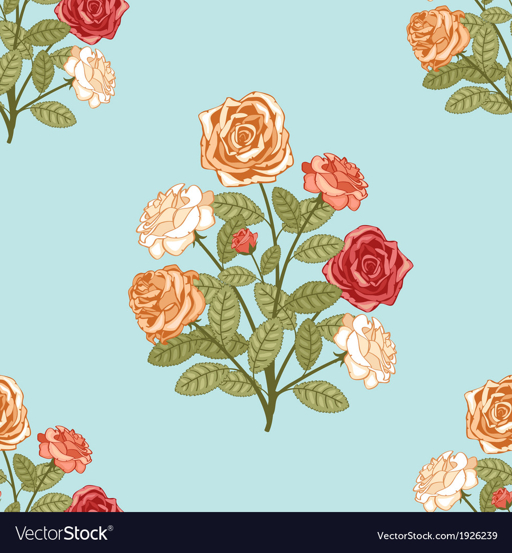 Seamless background with bouquet of flowers vector image