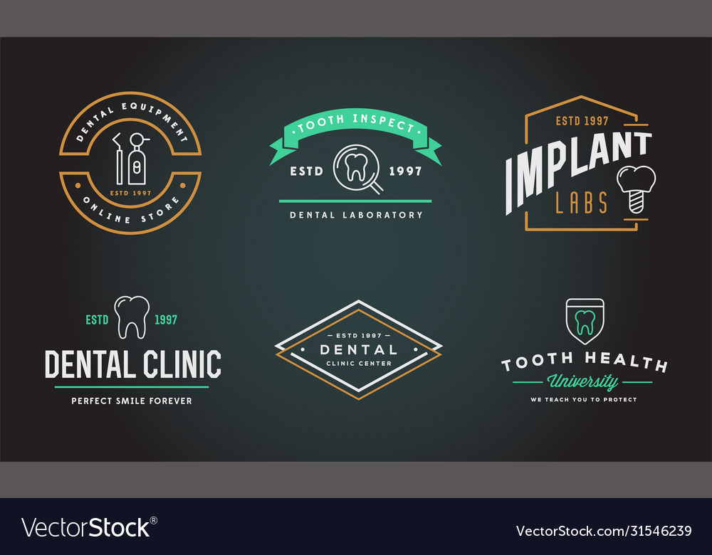 Set dental signs template stomatology graphic