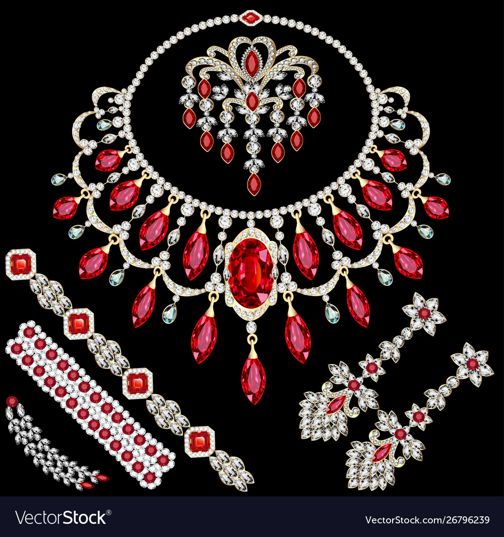 Set jewelry necklace earrings and brooch with